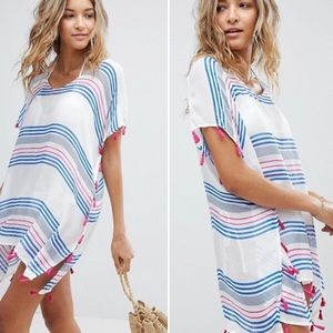 Surf Gypsy Beach Striped Printed Tassel Cover-Up